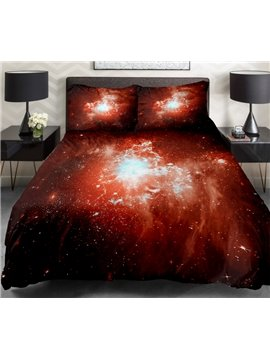 Orange Nebula Print 4-Piece Duvet Cover Sets