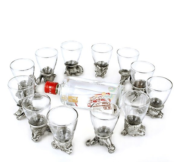 The Large Size Twelve Zodiac Liquor Glasses Cup Set