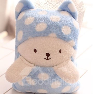 Lovely Bright Color Little Bear White Dots Novelty Blanket