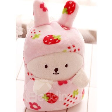 Super Lovely Little Rabbit Red Strawberry Pattern Blanket
