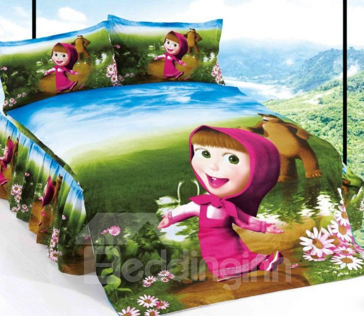 Beautiful Girl and Brown Bear Print 3-Piece Cotton  Duvet Cover Sets