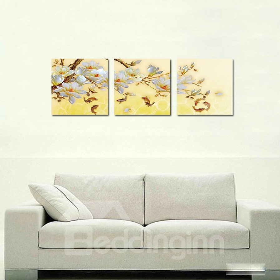 Pretty Flowers 3-Pieces of Crystal Film Art Wall Print