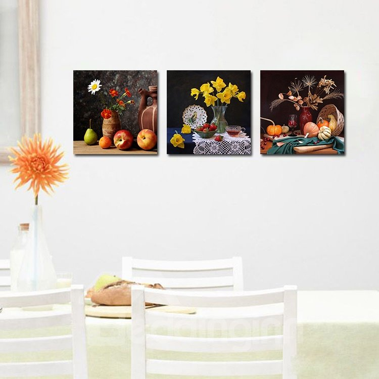 Fruits and Flowers 3-Pieces of Crystal Film Art Wall Print