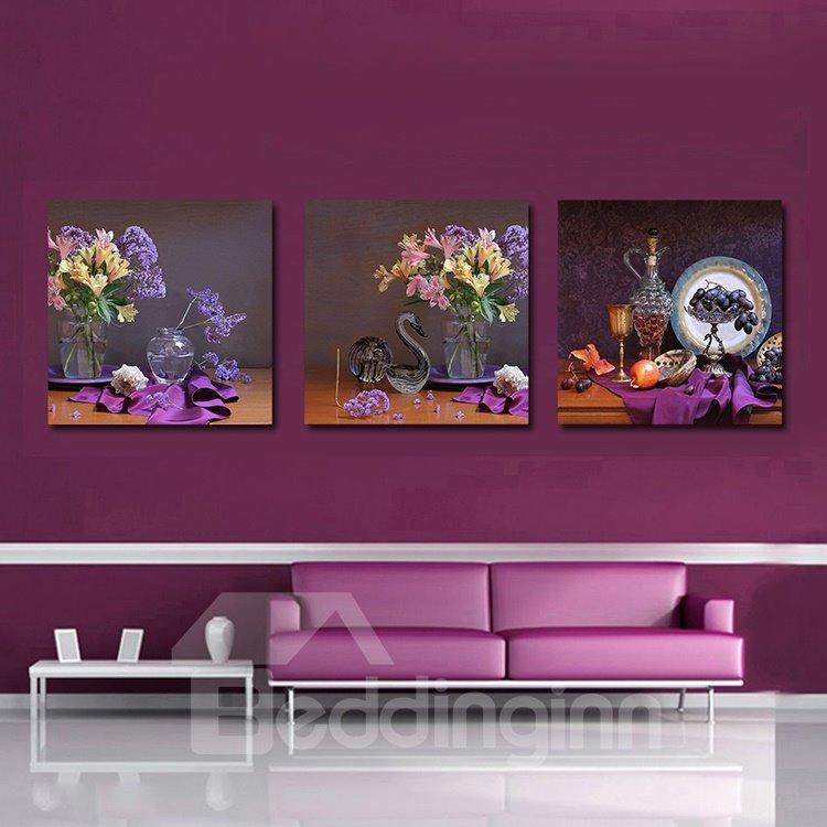 Wonderful Pretty 3-Pieces of Crystal Film Art Wall Print