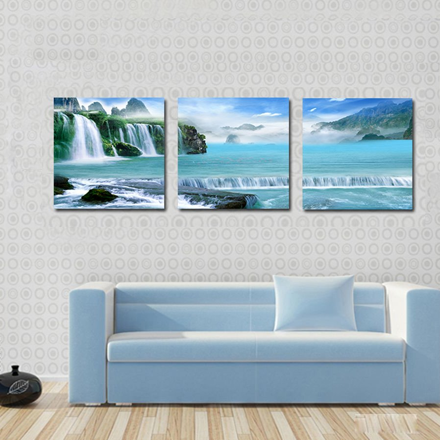 Landscape Scenery 3-Pieces of Crystal Film Art Wall Print