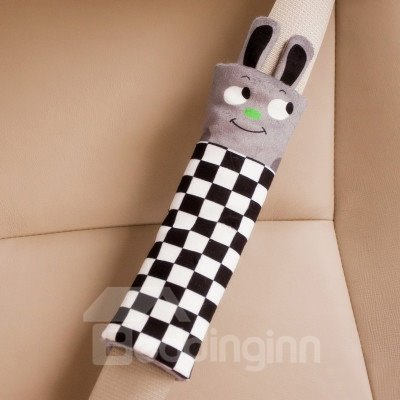 Fashion Black and White Squares Pattern Cute Rabbit Seat Belt Cover