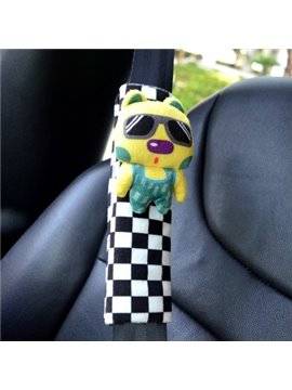 Fashion Black And White Checks White Animal Pattern Seat Belt Cover