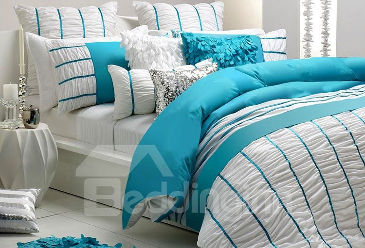 Hot Selling Whole Cotton Vibrant Colored 4-Piece Lace Duvet Cover Sets