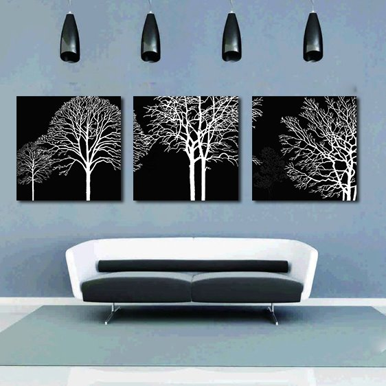 Pretty Unique Tree 3-Pieces of Crystal Film Art Wall Print