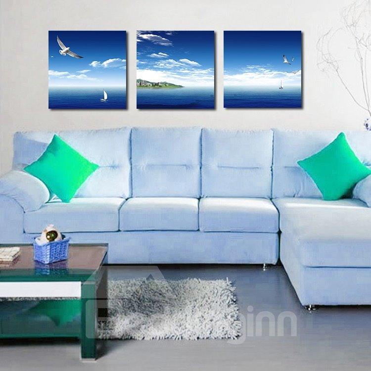 Beautiful Blue Sea 3-Pieces of Crystal Film Art Wall Print