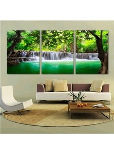 Green Trees and Waterfall 3-Piece Crystal Film Framed Wall Prints