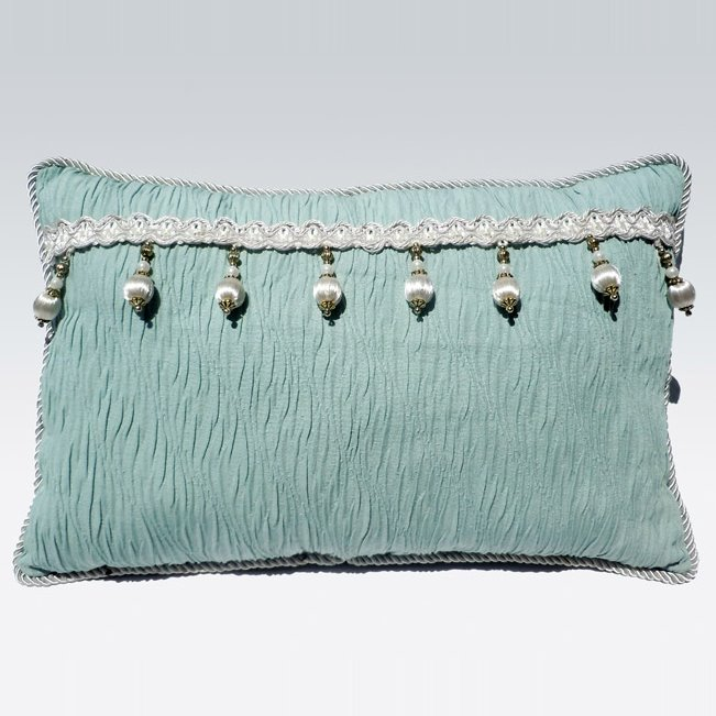 Super Fresh Tassel Stripe Green Lotus Leaf Bed Pillow