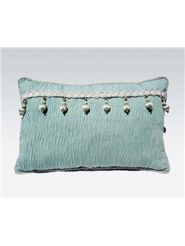 Super Fresh Tassel Stripe Green Lotus Leaf Bed Pillow