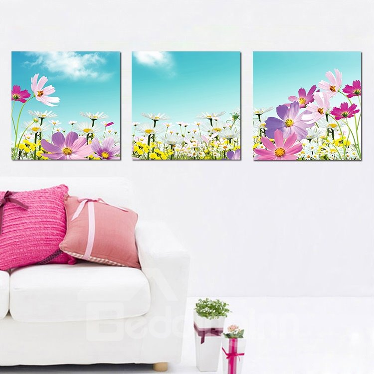 Beautiful Flowers 3-Pieces of Crystal Film Art Wall Print