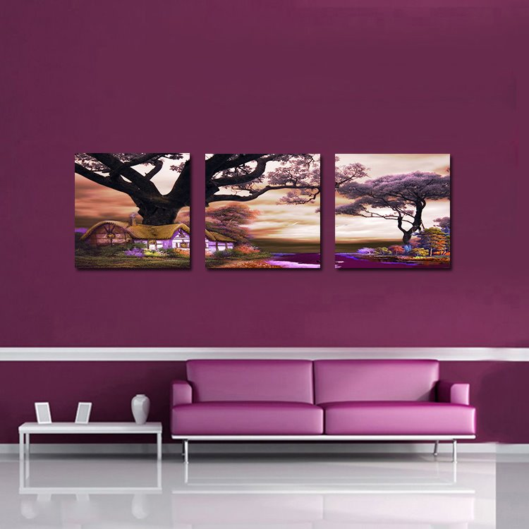 Beautiful Romantic 3-Pieces of Crystal Film Art Wall Print