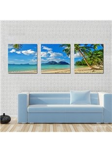Beautiful Coastal Beach 3-Piece of Crystal Framed Canvas Prints Wall Print