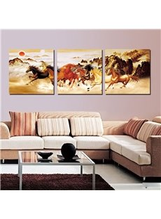 New Running Horse 3-Pieces of Crystal Film Modern Art Wall Print