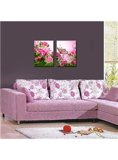 16×24in×2 Panels Flowers and Butterflies Hanging Canvas Crystal Film Waterproof Eco-friendly Framed Prints