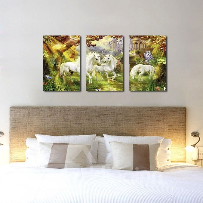 White Horses 3-Pieces of Crystal Film Art Wall Print