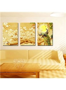 The Peacock and Flowers 3-Pieces of Crystal Film Art Wall Print
