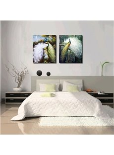 Beautiful Peacock 2-Pieces of Crystal Film Art Wall Print