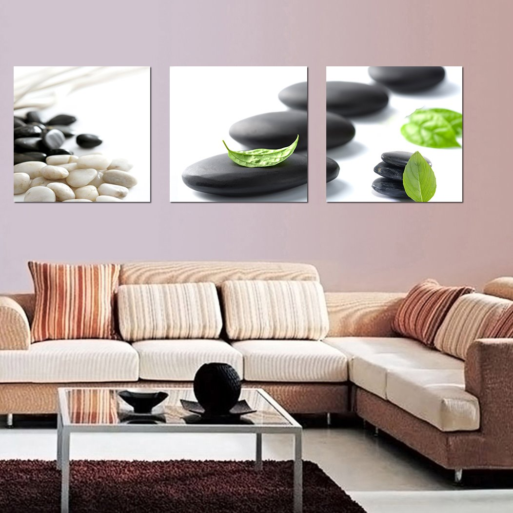 16×16in Wonderful Simple Black Stone 3-Pieces of Crystal Film Art Wall Print