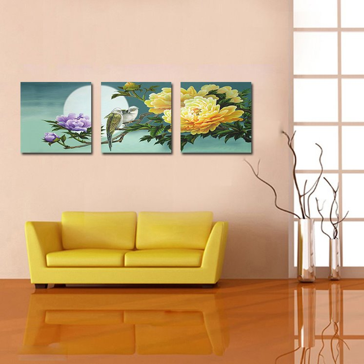 Pretty Peony 3-Pieces of Crystal Film Art Wall Print