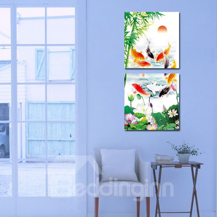 Beautiful Goldfish 2-Pieces of Crystal Film Art Wall Print
