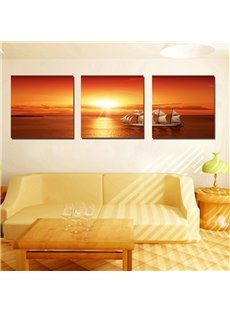 Pretty Sea and Sunset 3-Pieces of Crystal Film Art Wall Print