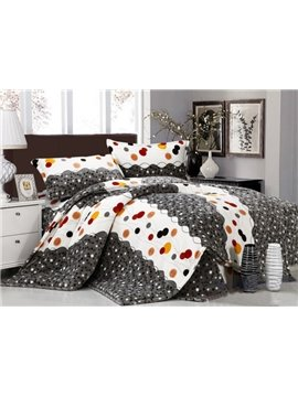 Funny  Super Soft Colorful Wave Dot Print 4-Piece Coral Fleece Duvet Cover Sets