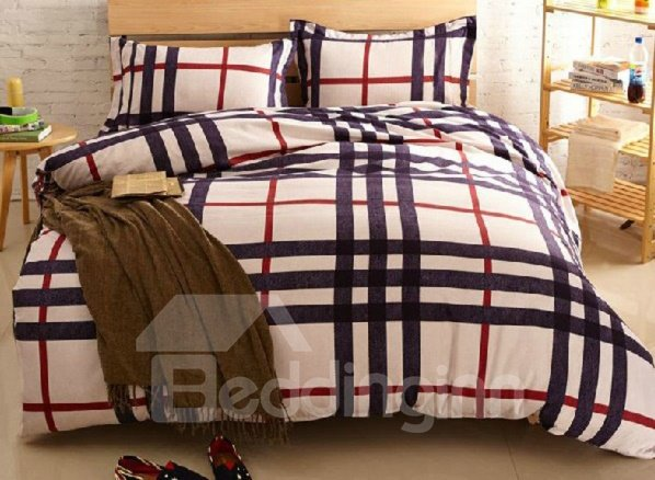 Skincare Red and Black Srtip Crossing Print 4-Piece Cotton Duvet Cover Sets