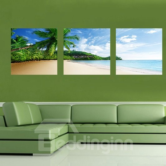 Beautiful Beach 3-Pieces of Crystal Film Art Wall Print