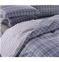 Gray Grid Print Reversible 4-Piece Cotton Duvet Cover Sets