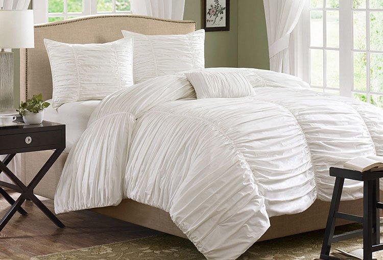 New Arrival 100% Cotton Pure White Lace Duvet Cover Sets