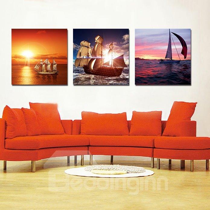 Pretty Sailing Boat 3-Pieces of Crystal Film Art Wall Print