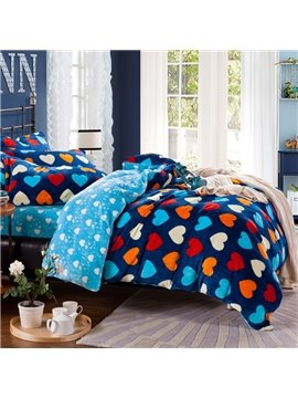 Top Selling Colored Hearts Print Flannel Warm Winter Duvet Cover Sets