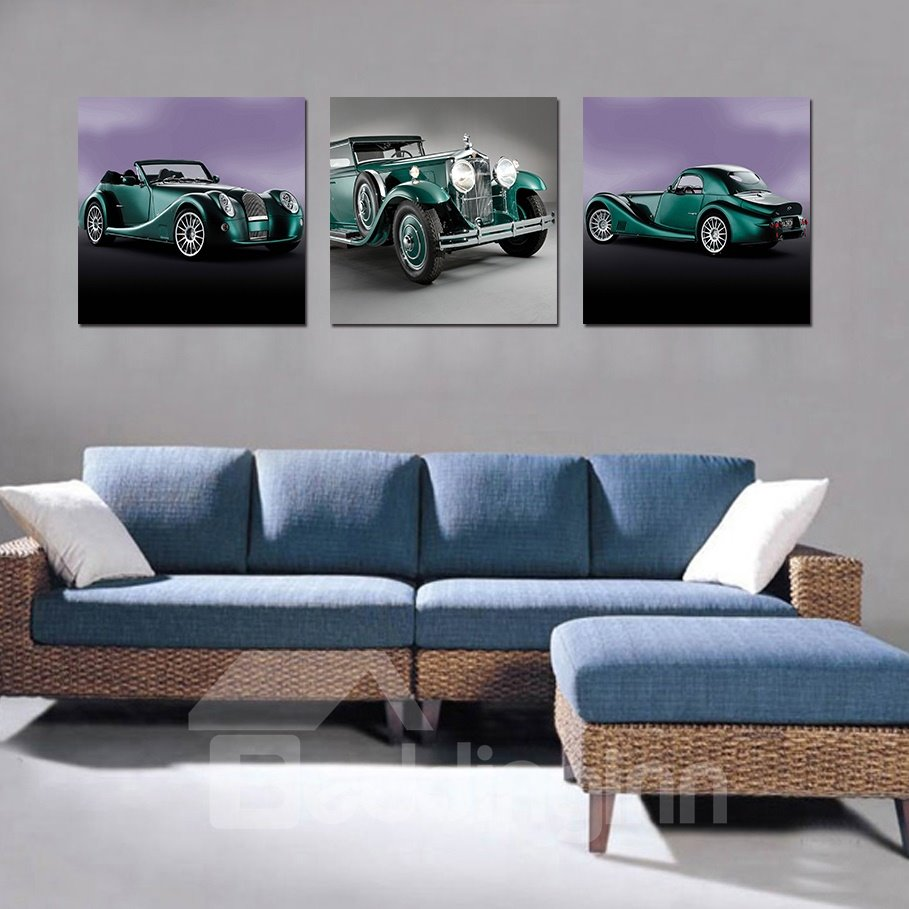 Classic Vintage Car 3-Pieces of Crystal Film Art Wall Print