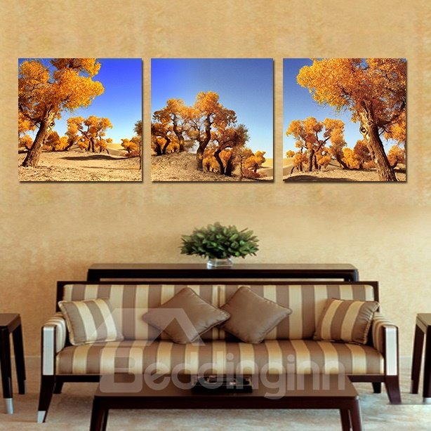 Beautiful Unique Trees 3-Pieces of Crystal Film Art Wall Print