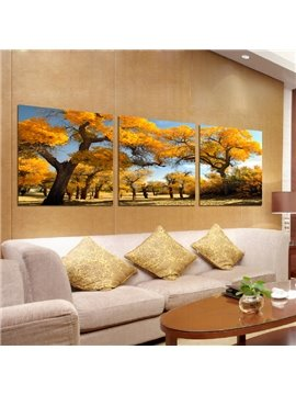 Beautiful Fantastic Autumn Trees 3-Pieces of Crystal Film Art Wall Print