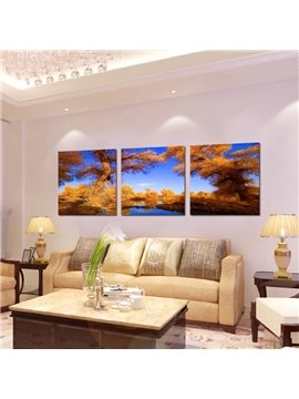 New Classic Autumn 3-Pieces of Crystal Film Art Wall Print