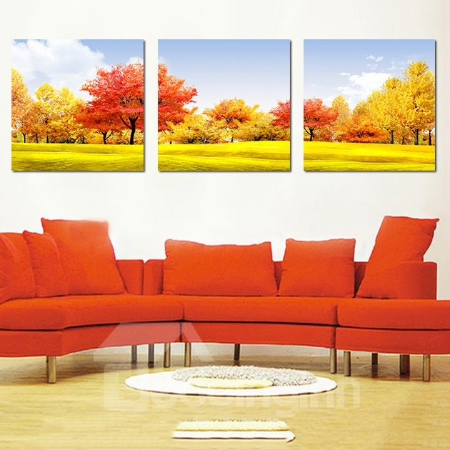 Beautiful New Classic Trees 3-Pieces of Crystal Film Art Wall Print