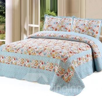 Super Soft and Warm Red Floral Blue Bed in a Bag Set
