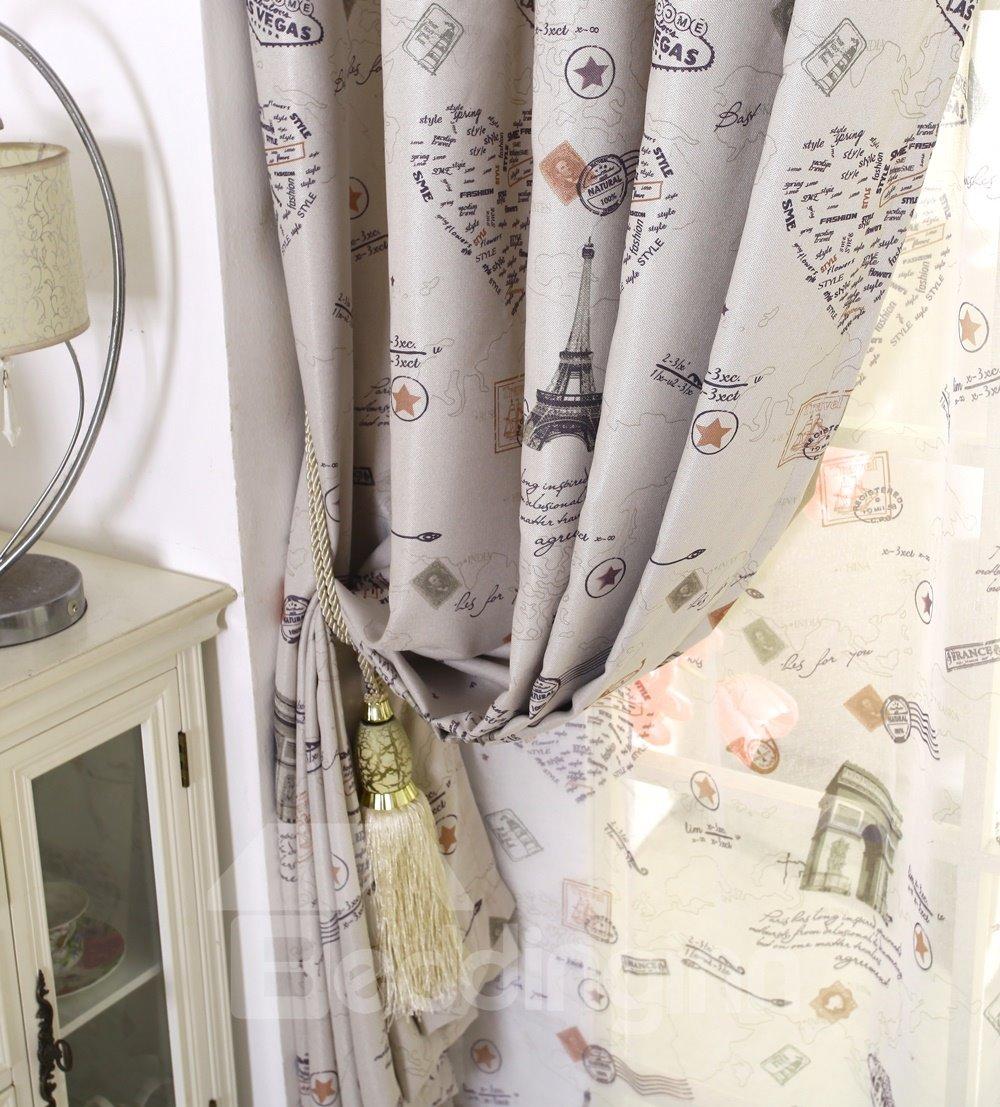 Romantic Paris Printing Linen Blackout Custom Curtain