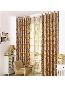 Top Class Noble Floral Printing Custom Made  Linen Curtain