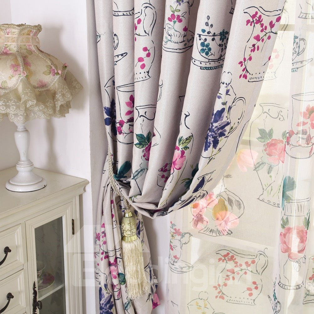 Beautiful Floral Printing Linen Blackout Custom Curtain