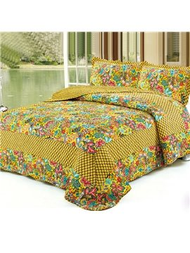 Super Soft Bright Color Flowers Golden Yellow Bed in a Bag Set