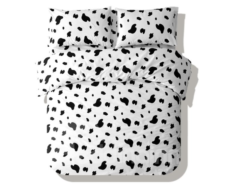 Soft and Comfortable Cow Print 4-Piece Cotton Duvet Cover Sets