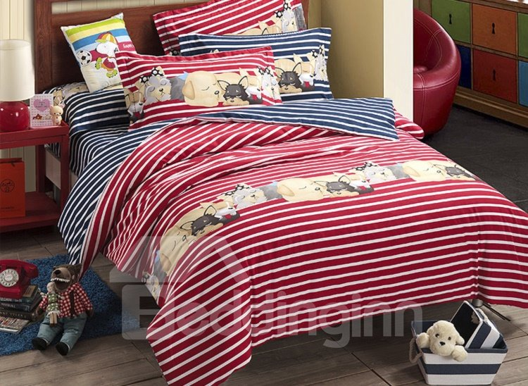 Lovely Baby Dog Print Reversible 4-Piece Cotton Duvet Cover Sets
