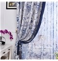 Best Home Fashion Blue Floral Printing Linen Custom Made Curtain
