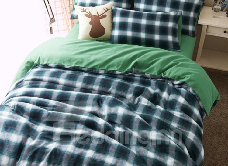 Modern Black Grid Print 4-Piece Combed Cotton Duvet Cover Sets
